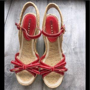 Prada Red Wedge Shoes super clean